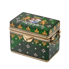 Bohemian Green Glass Box with Brass Mounts, Enamel and Coat of Arms, circa 1870