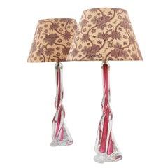 Matched Pair of Val St Lambert Organic Form Lamps by Charles Graffart circa 1950