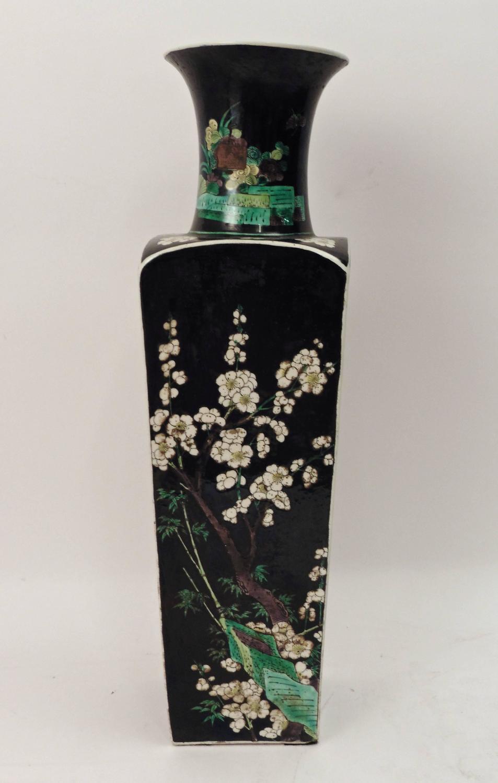 pair of chinese famille noir porcelain square vases circa. Black Bedroom Furniture Sets. Home Design Ideas