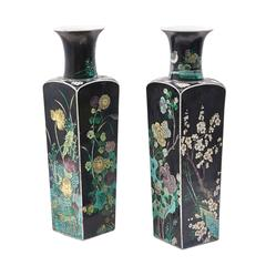Pair of Chinese Famille Noir Porcelain Square Vases, circa 1860