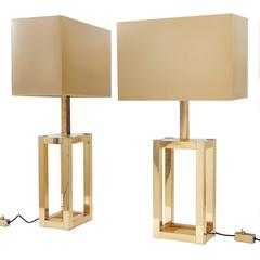 Pair of Italian Brass and Chrome Lumica Lamps after design by Willy Rizzo c.1970