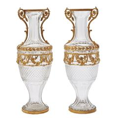 Pair of Large Napoleon III Ormolu and Cut Crystal Vases, circa 1870