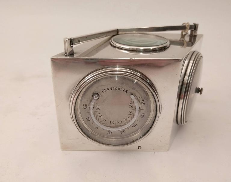 Early 20th Century French Art Deco Lozenge Shaped Silver Novelty Combination Clock, circa 1920 For Sale