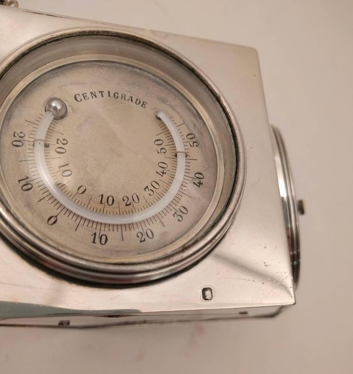 French Art Deco Lozenge Shaped Silver Novelty Combination Clock, circa 1920 For Sale 2