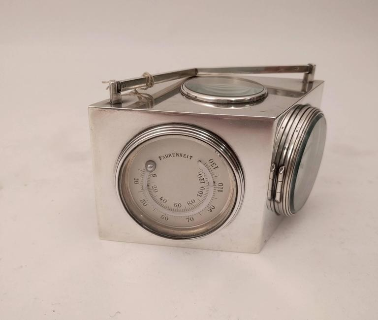 French Art Deco Lozenge Shaped Silver Novelty Combination Clock, circa 1920 For Sale 3