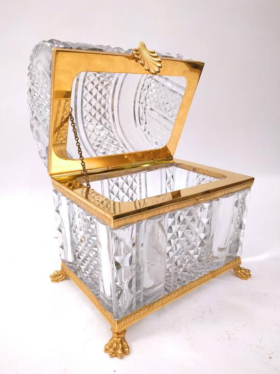 Monumental cut crystal and gilt bronze coffer early 20th for French furniture designers 20th century