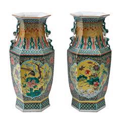 Hexagonal Pair of Chinese Famille Vert Vases, circa 1880
