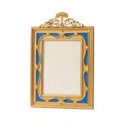 French Ormolu and Blue Enamel Floral Frame, circa 1890