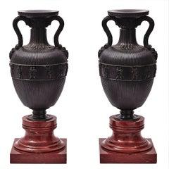 Pair of French Bronze Amphora Shaped Urns, circa 1900