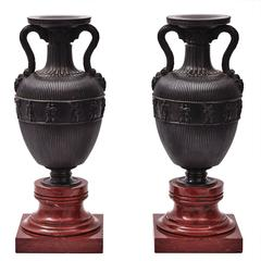 Pair of French Bronze Amphora Shaped Urns, circa 1900