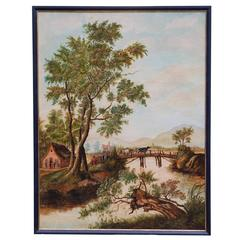 18th Century Oil on Canvas of a River Scene, Attributed to H.W. Schweickhardt.
