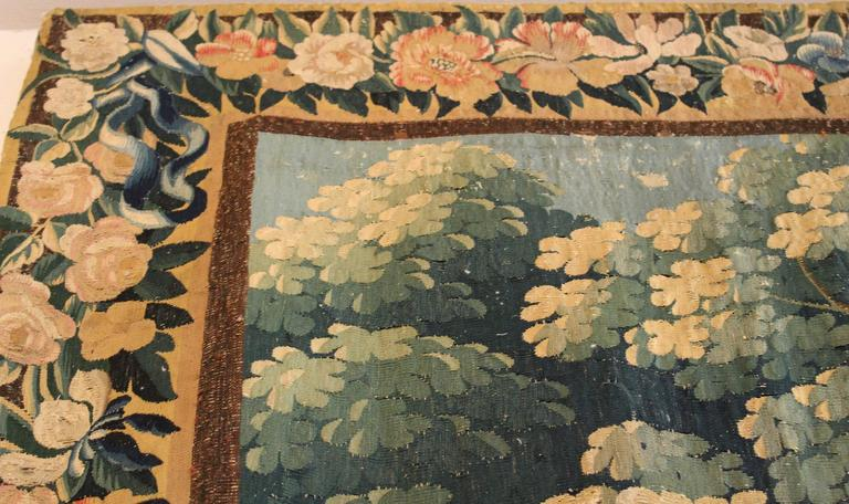 Large Verdure Brussels Tapestry of a Landscape Scene, circa 1750 2