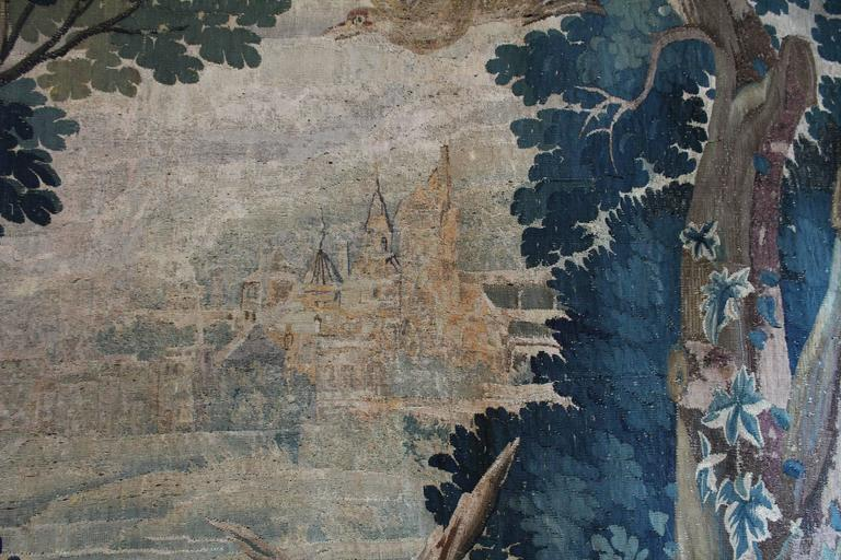 Large Verdure Brussels Tapestry of a Landscape Scene, circa 1750 5