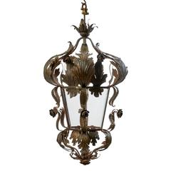 French Foliate Wrought Iron Lantern, circa 1930