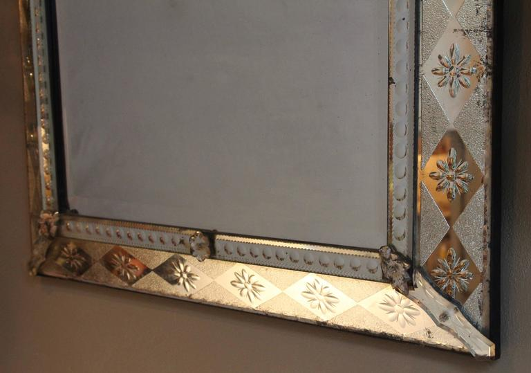 French Venetian Style Crested Mirror With Diamond Cut