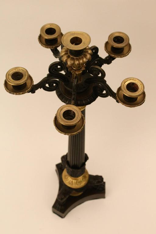 Pair of French Louis Philippe Bronze and Ormolu Candelabra, circa 1860 For Sale 4