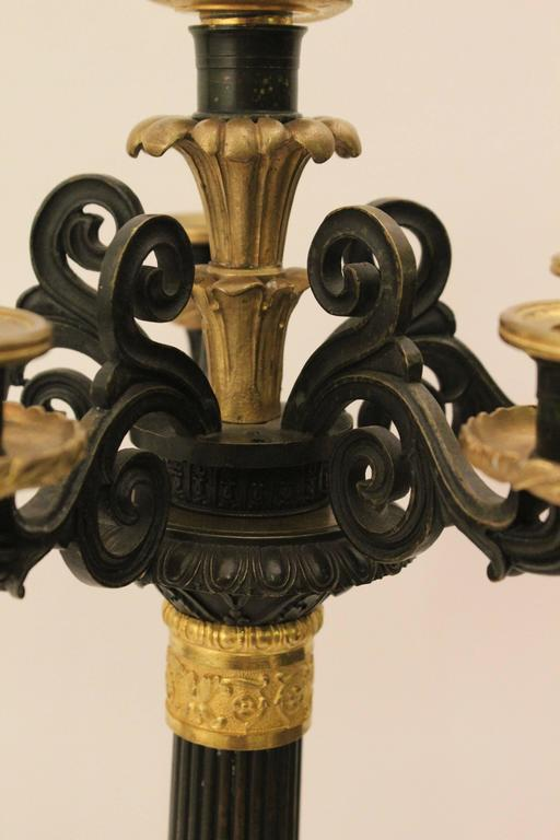 Pair of French Louis Philippe Bronze and Ormolu Candelabra, circa 1860 For Sale 1