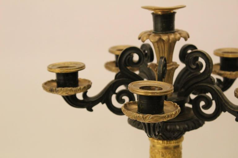 Pair of French Louis Philippe Bronze and Ormolu Candelabra, circa 1860 For Sale 2