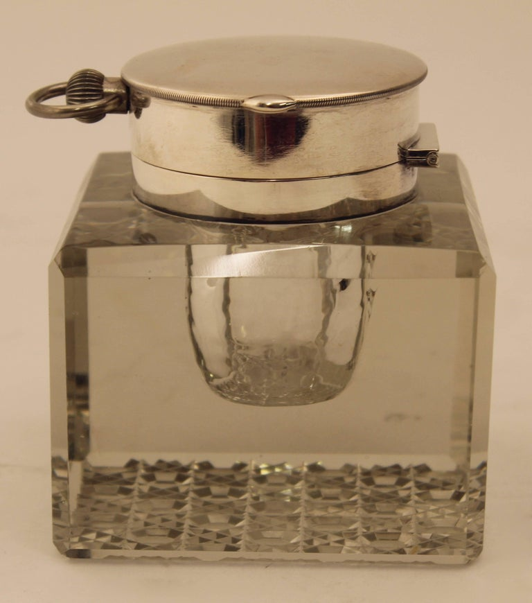Early 20th Century Edwardian Silver Mounted Clock Inkwell, London, circa 1903 For Sale