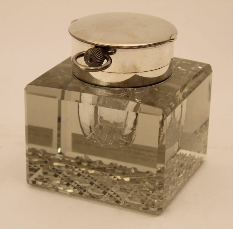 Edwardian Silver Mounted Clock Inkwell, London, circa 1903 In Good Condition For Sale In London, GB