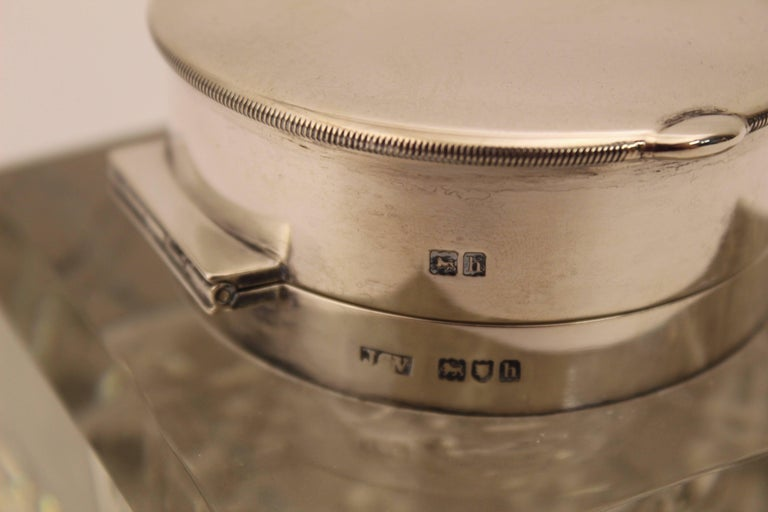 Edwardian Silver Mounted Clock Inkwell, London, circa 1903 For Sale 1