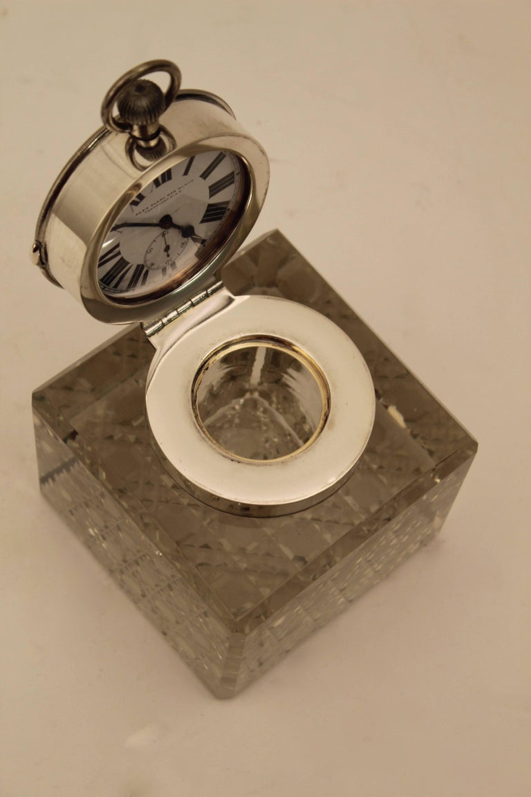 British Edwardian Silver Mounted Clock Inkwell, London, circa 1903 For Sale