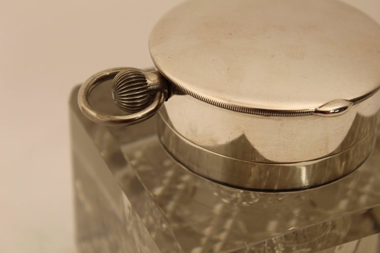 Edwardian Silver Mounted Clock Inkwell, London, circa 1903 For Sale 2