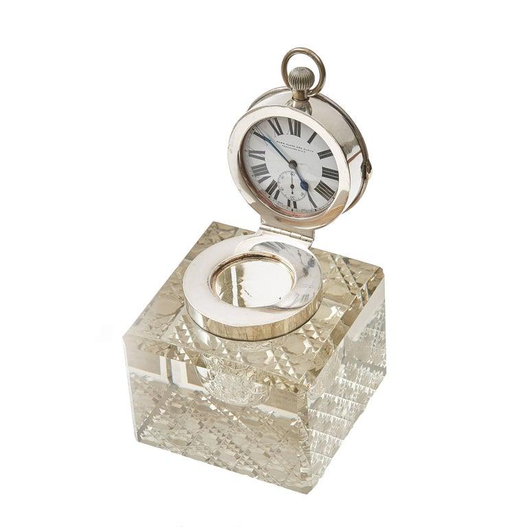 Edwardian Silver Mounted Clock Inkwell, London, circa 1903 For Sale
