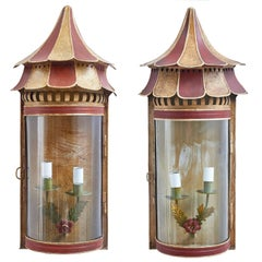 Pair of Italian Painted Tole Wall Lanterns with Pagoda Tops, circa 1950