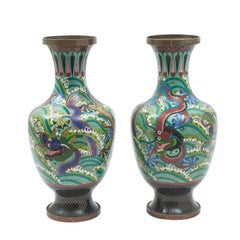 Pair of Chinese Cloisonné Baluster Vases with Dragons, 20th Century