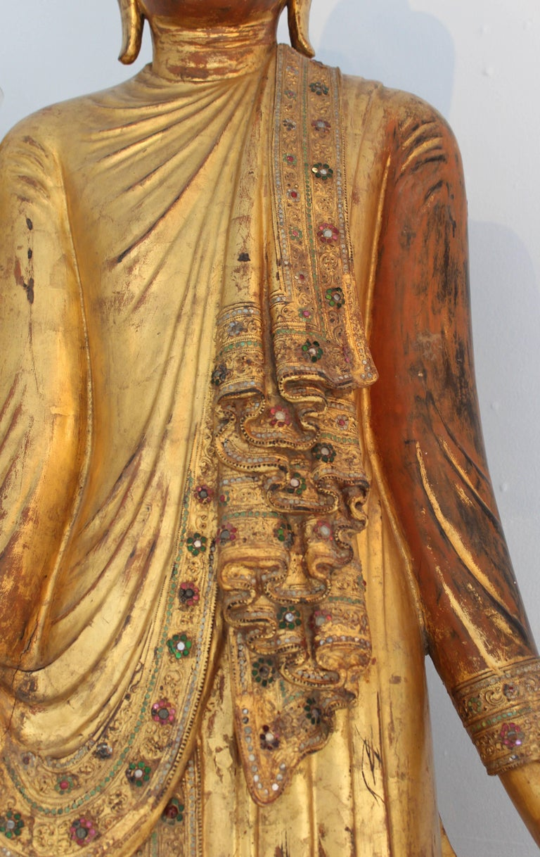 Life size Giltwood Thai Buddha with Coloured Glass Inlay, 19th Century For Sale 3