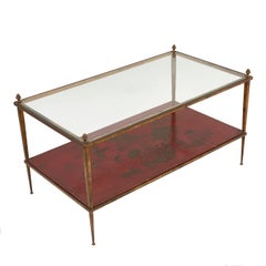 French 1970s Gilt Iron Tiered Coffee Table by Maison Ramsey