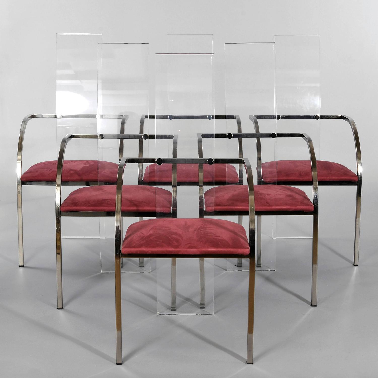 set of six lucite glass and steel maison jansen chairs