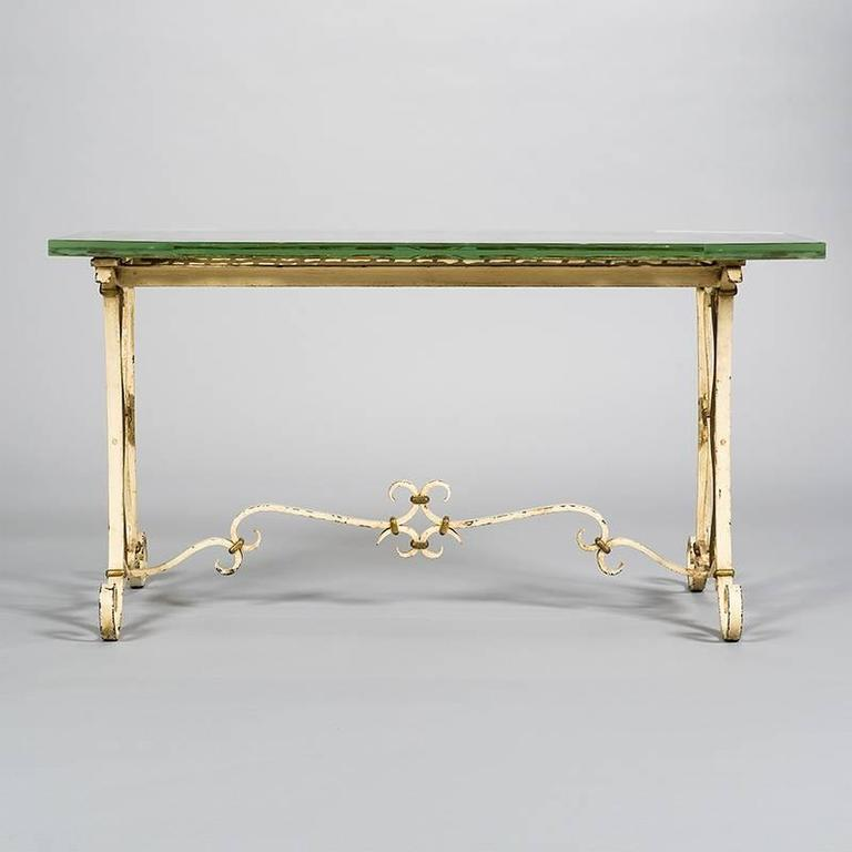 Italian wrought iron and glass table for sale at 1stdibs for Wrought iron and glass side tables