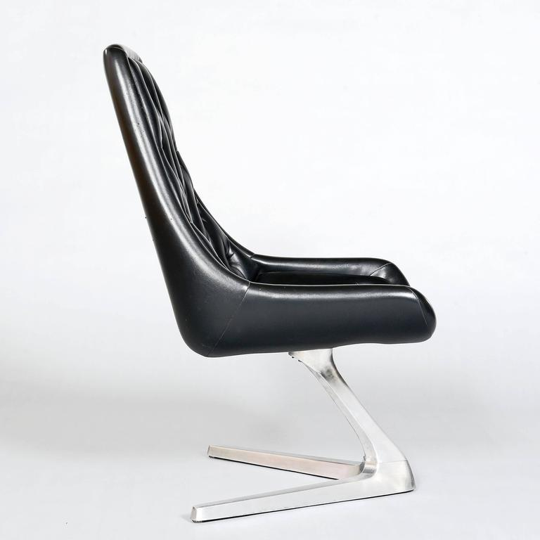 1960s aluminium chromcraft sculpta chair re upholstered in black