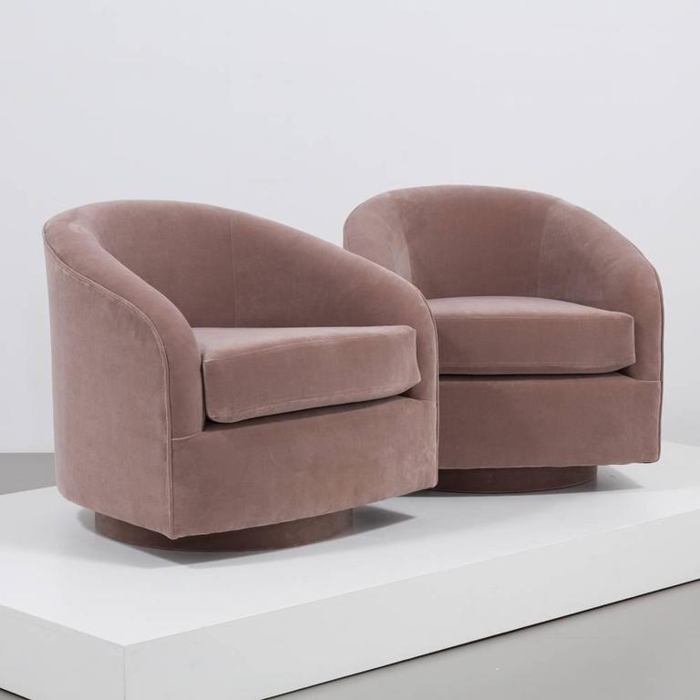 Pair Of Swivel Velvet Upholstered Armchairs 1970s At 1stdibs