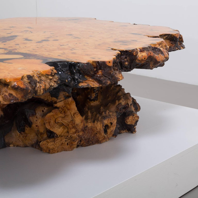 California Redwood Coffee Table: Californian Redwood Coffee Table With Amber Inlay, 1960s