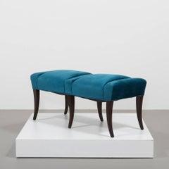 Pair of Velvet Upholstered Benches in the Manner of Parzinger