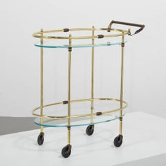 Oval Two Tier Brass Framed Bar Cart with Glass Shelves 1960s