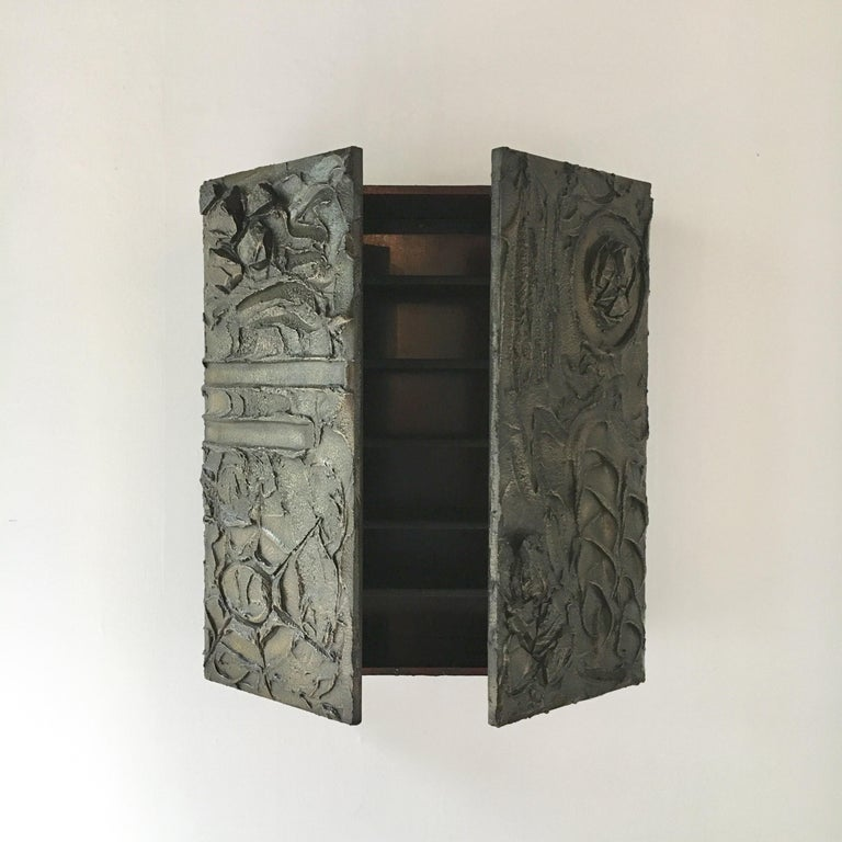 American Bronzed Resin Paul Evans designed Wall Hung Cabinet, 1970 For Sale