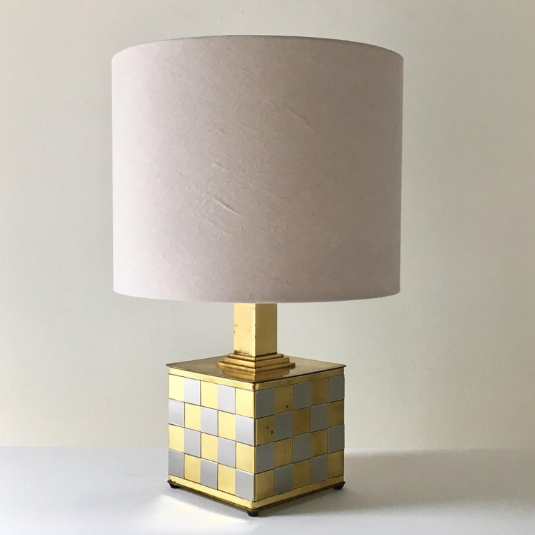 Brass and Chrome Patchwork Detailed Table Lamp, 1970s In Good Condition For Sale In London, GB