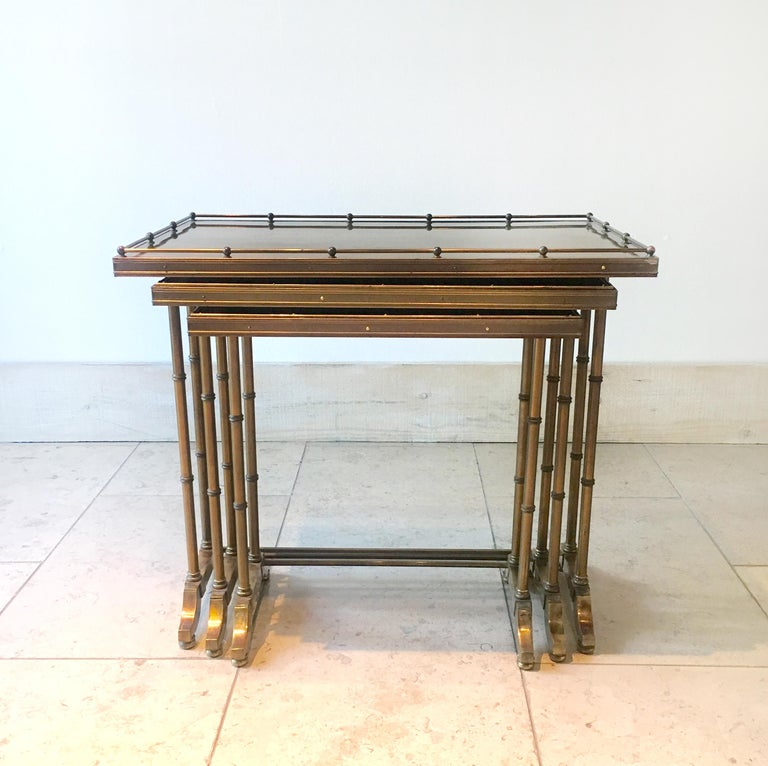 American Set of Three Brass Framed Faux Bamboo Nesting Tables, 1960s For Sale
