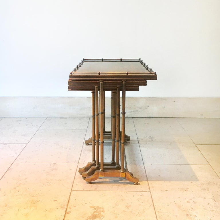 Set of Three Brass Framed Faux Bamboo Nesting Tables, 1960s In Good Condition For Sale In London, GB