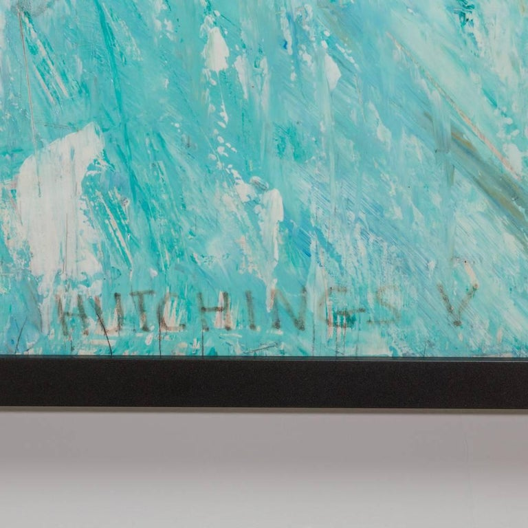 An abstract mixed-media framed painting 1960s signed Hutchings V. Artist unknown.
