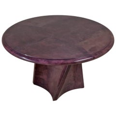 Pedestal Based Mauve Lacquered Goatskin Centre Table, 1991