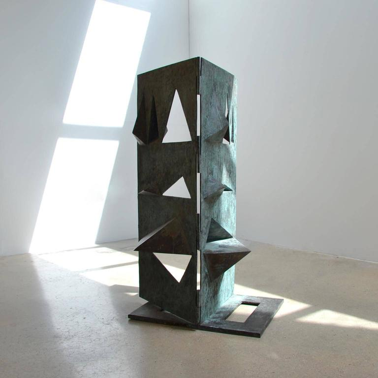A bronze sculpture titled 'Comparison' by Toni Fabris, circa 1972. Acquired by the Walter Fontana collection in 1974.