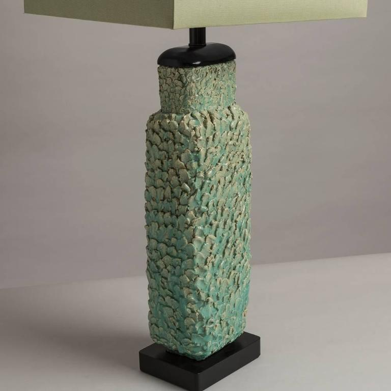 Large Sea Green Textured Ceramic Table Lamp 1960s At 1stdibs