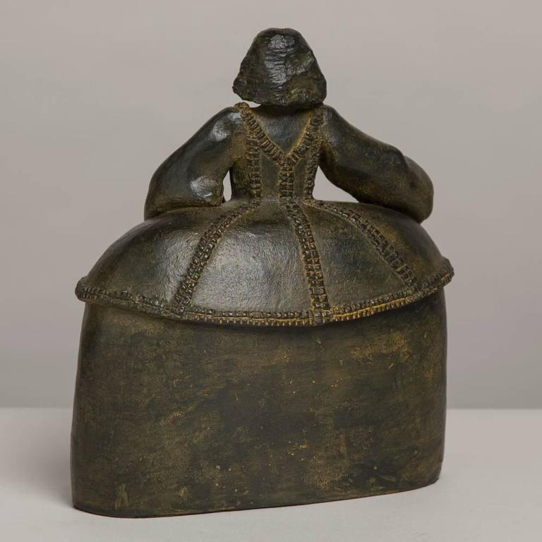 "20th Century Spanish Bronze by Pilar Gomez Francos Titled ""Menina"" For Sale"
