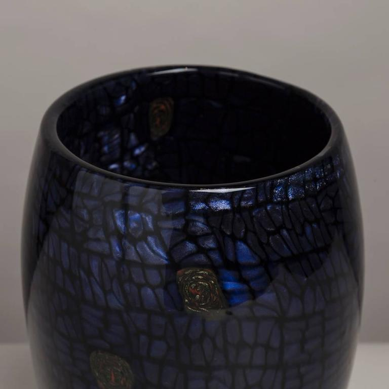 Ferro Vittorio Glass Vase with Aventurine Detail, 1990s In Excellent Condition For Sale In London, GB