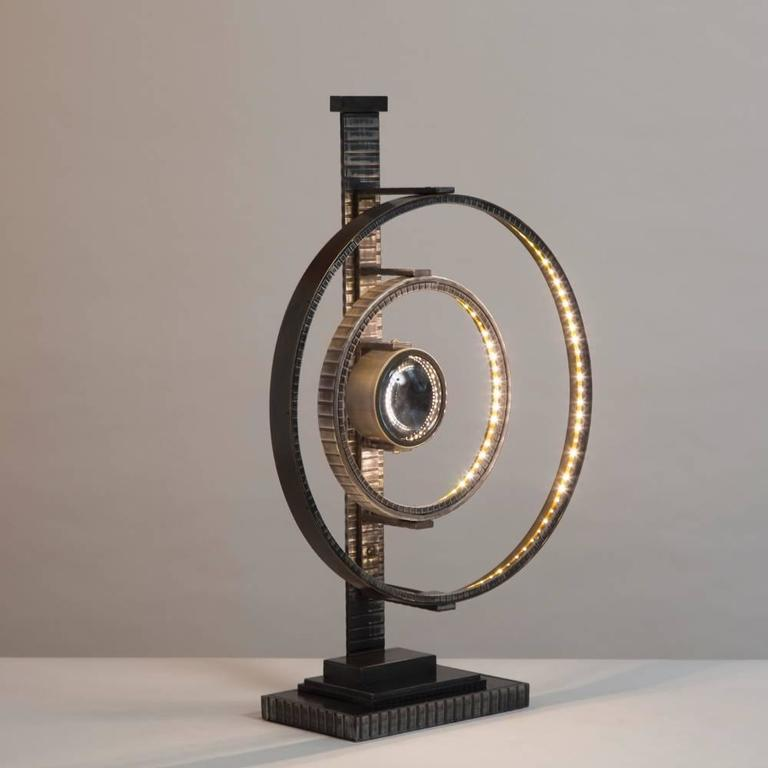 Jean Brown Designed Industrial Sculptural LED Table Lamp In Excellent Condition For Sale In London, GB
